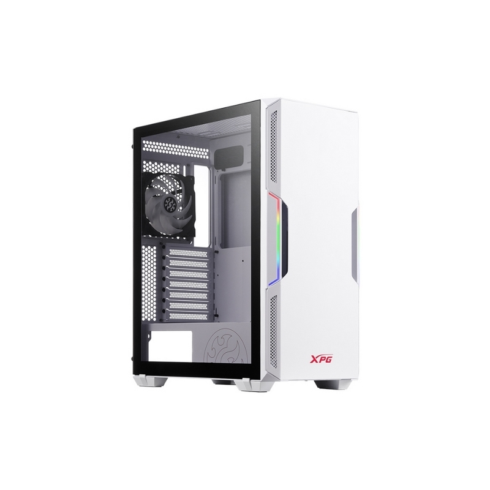 Chasis gamer XPG by ADATA STARKER Blanco / ATX / Vidrio templado X1 / 1 Fan cooler ARGB + 1 Fan Cooler Standard + Fuente de poder XPG PROBE / 600 Watts / Certificada 80 Plus Bronze