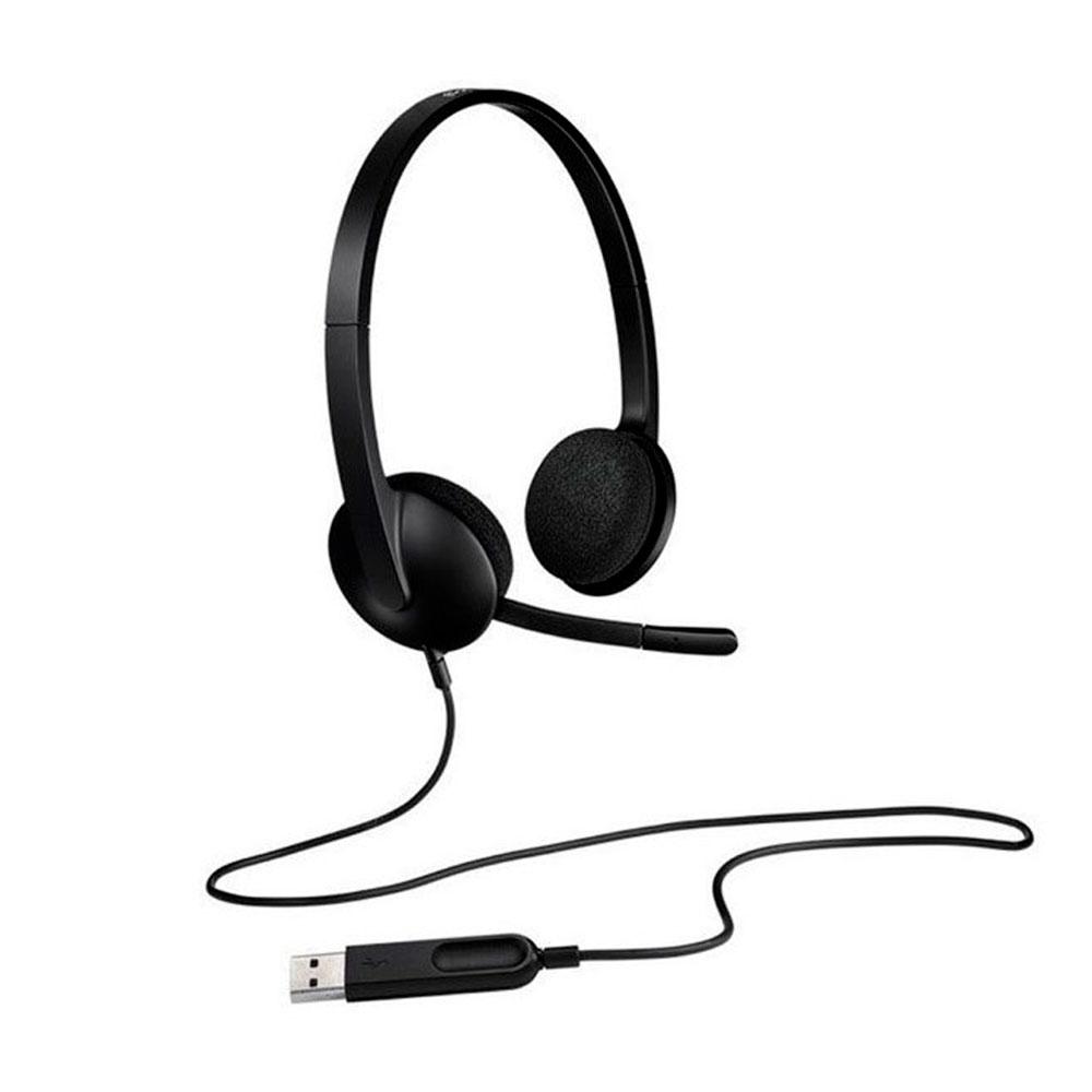 DIADEMA H340 Logitech USB Compatible Win-Mac Estéreo Digital Micrófono Suspensión Ruido Cable 1.8Metros Garantía 2Años-NEGRO