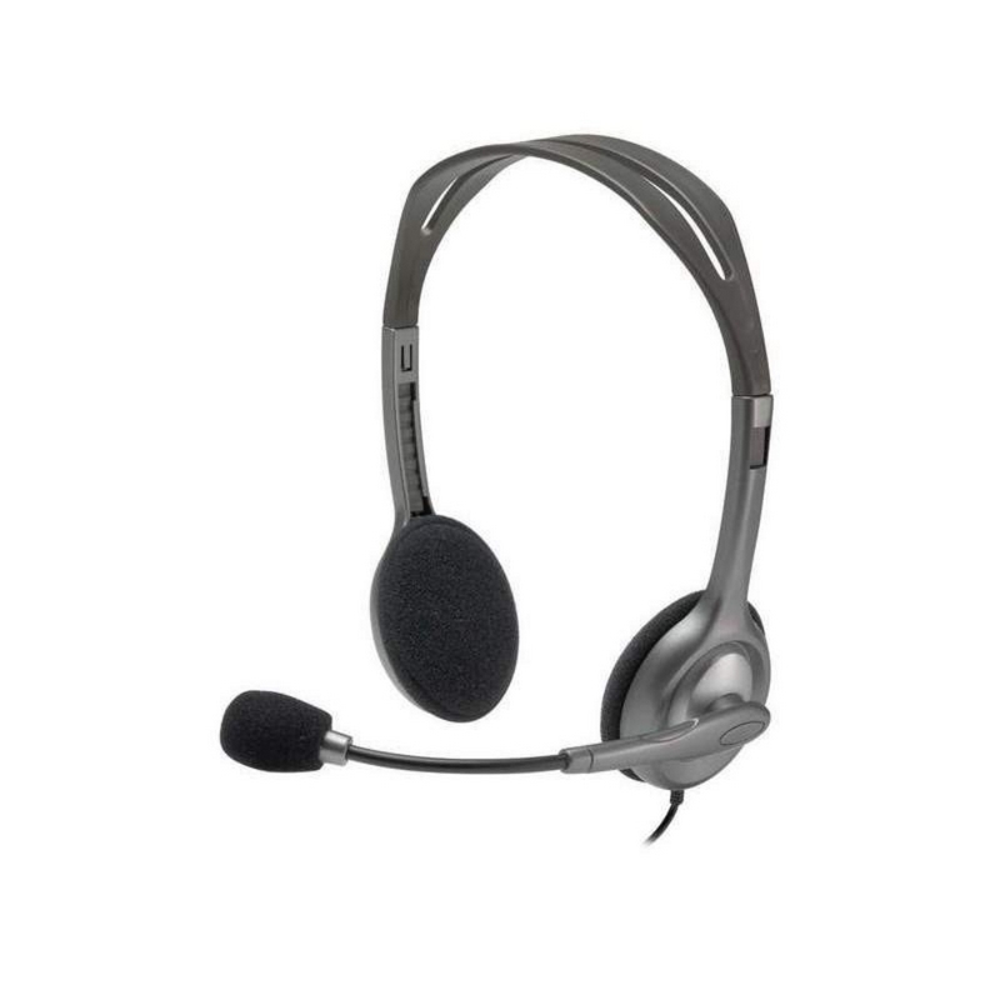 DIADEMA H111 Logitech Plug 3.5MM Compatible PC-Cell-Tablet Estéreo Micrófono Giratorio 180° Cable 2.35Metros Garantía 1Año-SILVER