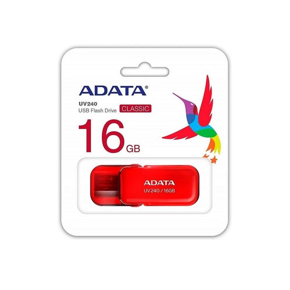 MEMORIA ADATA USB 2.0 UV240 ESCUALIZABLE 16GB ROJA