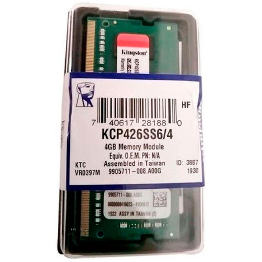 Memoria ram kingston para portatil 4GB DDR4 2666MHz