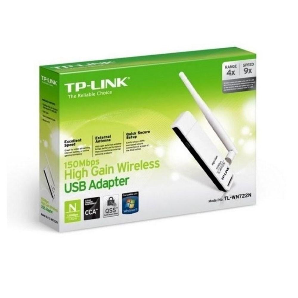 Adaptador de Red TPLINK USB N150Mbps, 2.4 Ghz, 1 Antena externa desmontable.